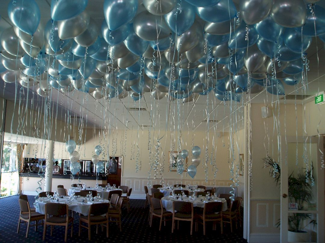 40 Beautiful Wedding Party Decoration Ideas For Your Elegant Wedding Party Balloon Ceiling Balloon Ceiling Decorations Helium Balloons Decoration