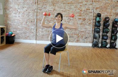 Seated Arm and Shoulder Workout Video Has a leg, knee or ankle injury brought your workouts to a stop?  Try this video and you won't feel so much like a couch potatoe!Has a leg, knee or ankle injury brought your workouts to a stop?  Try this video and you won't feel so much like a couch potatoe!