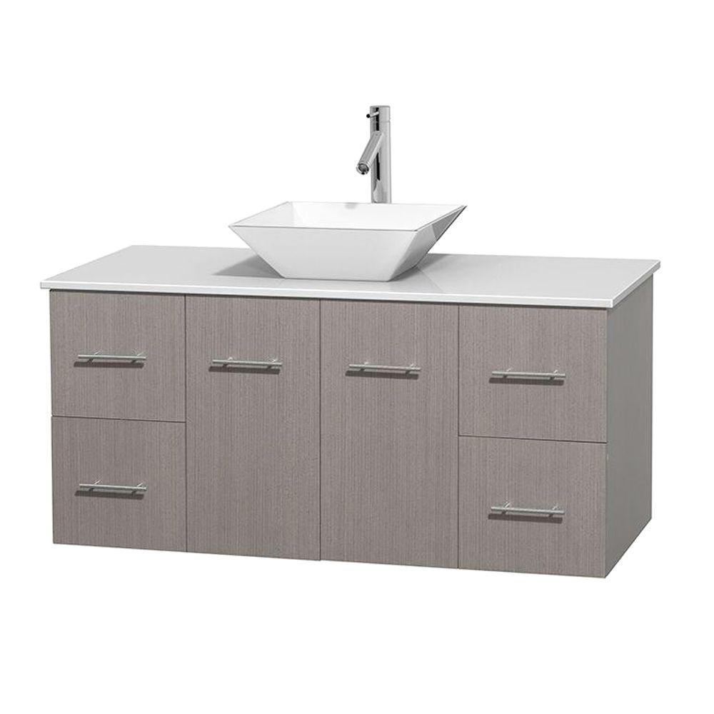 Wyndham Collection Centra 48 In Vanity In Gray Oak With Solid Surface Vanity Top In White And Porcelain Sink Wcvw00948sgowsd2wmxx Single Bathroom Vanity Single Sink Bathroom Vanity Oak Bathroom Vanity