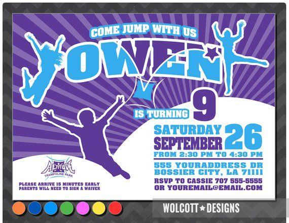 Altitude Trampoline Park Party Invitation Bounce House Inv