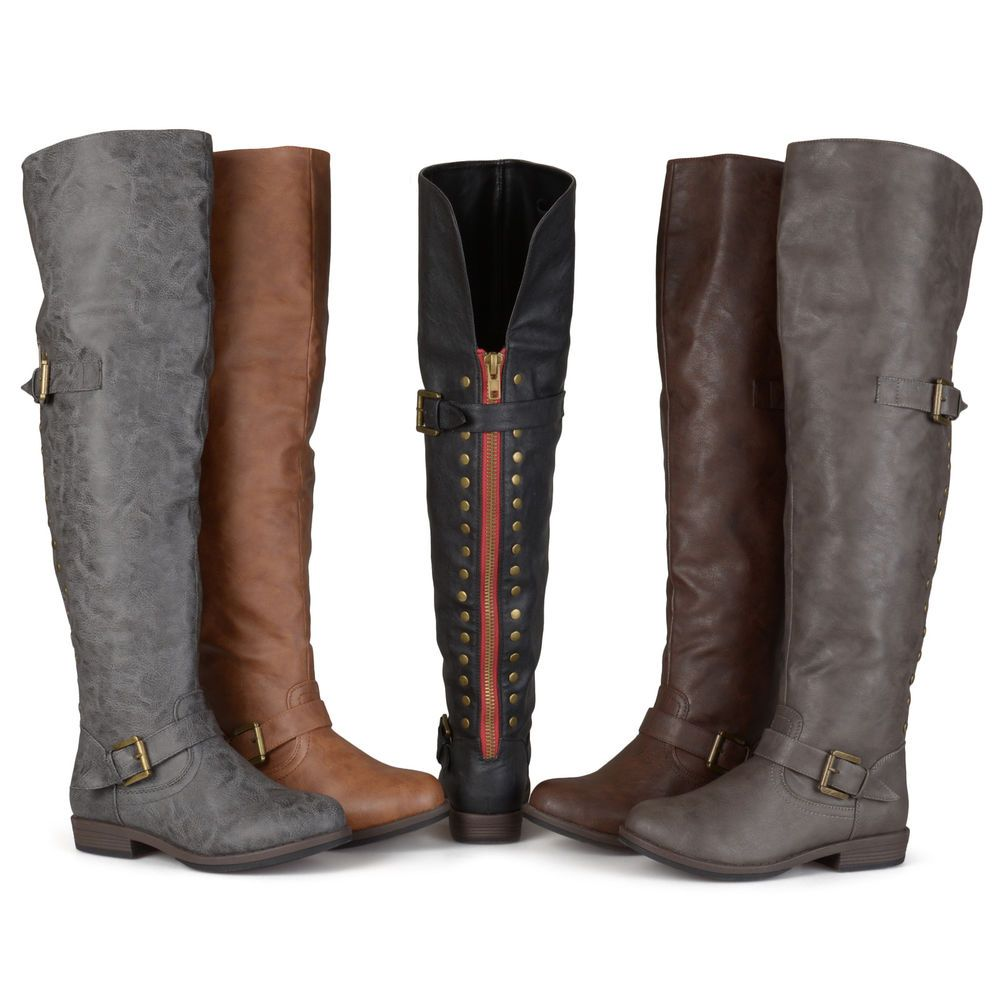 2efb1e9c9148 Brinley Co. Womens Wide Calf Over-the-knee Buckle Studded Boots. Show off  the chicest style this season in over-the-knee secret compartment boots by  Brinley ...