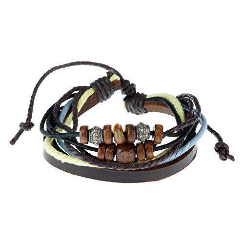 Kauai Multi Strand Cord Brown Leather Beaded Surf Style Mens Bracelet