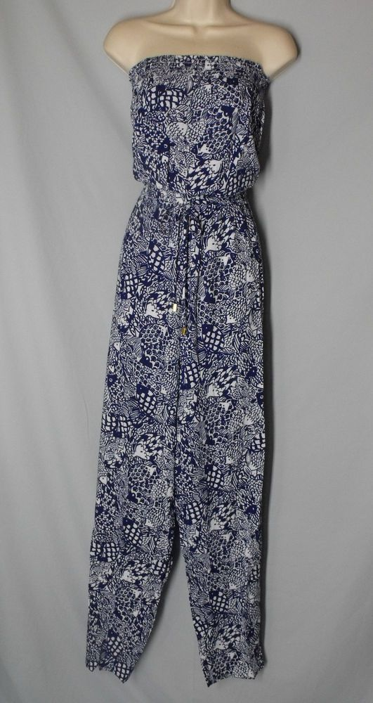 27e70f10ff0a Lilly Pulitzer XXL Upstream Strapless Jumpsuit Blue   White Fish Target NEW  Lily  LillyPulitzer  Jumpsuit