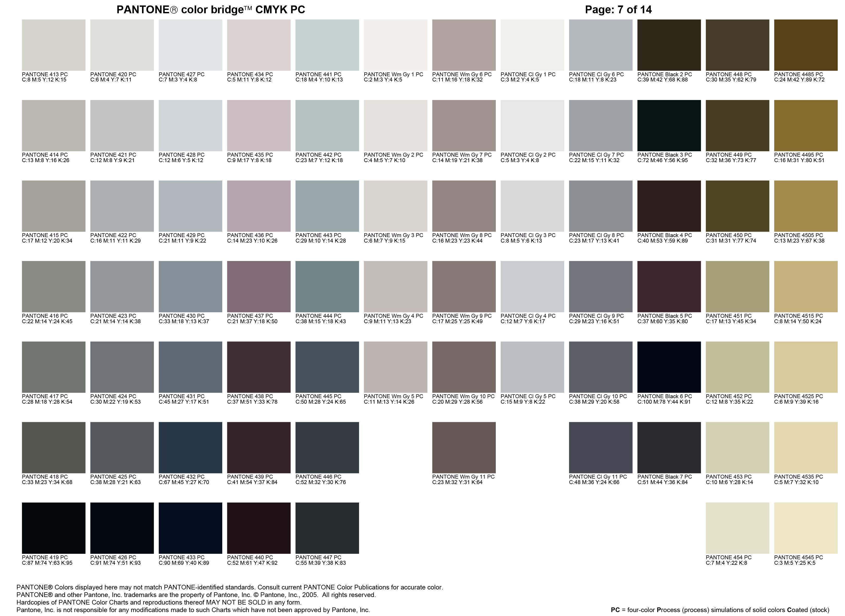 Pantone Color Chart Grey