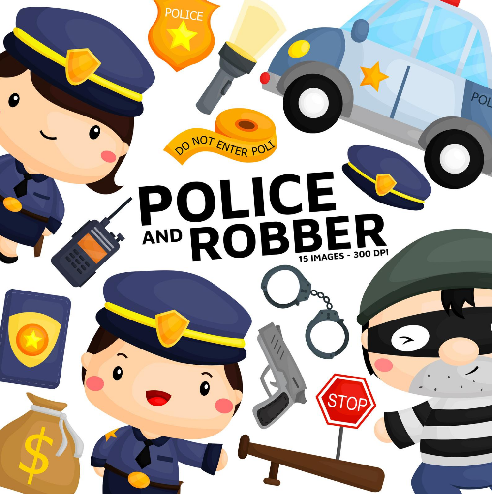Police And Robber Clipart Job And Occupation Clip Art Etsy Clip Art Digital Stamps Animal Clipart