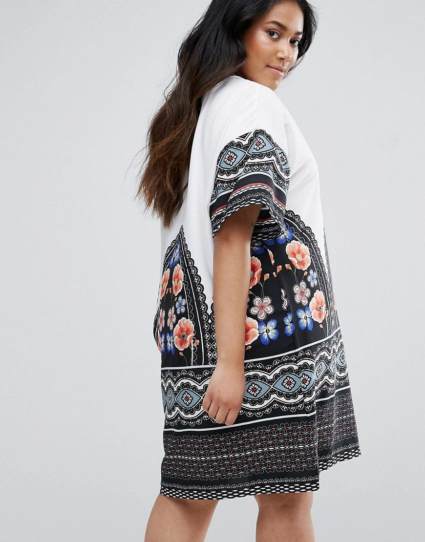 c94392e3f32d38 Junarose Contrast Block And Floral Shift Dress   Products   Dresses ...