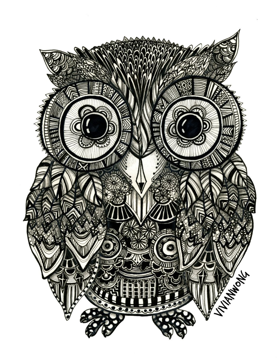 zentangle owl coloring pages - photo#13
