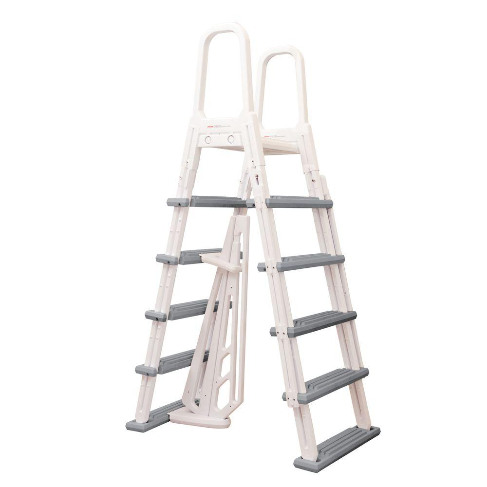 Blue Wave Heavy Duty A Frame Ladder For Above Ground Pools Ne1202 The Home Depot Above Ground Pool Ladders Pool Ladder Above Ground Pool