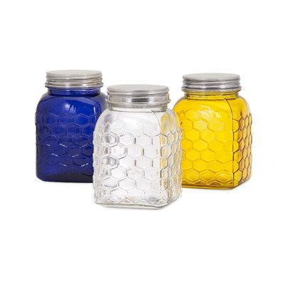Trisha Yearwood Home Collection Honey Bee 3 Piece Glass Canister Set