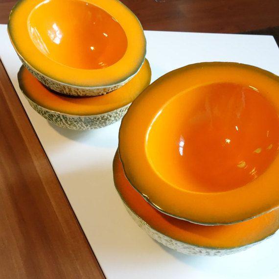 Midcentury Bowls Midcentury Kitchen Ceramic Cantaloupe