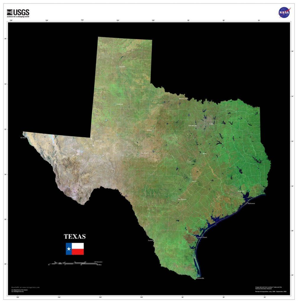 The Texas Satellite Imagery State Map Poster Texas