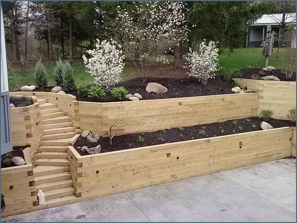 Retaining Walls With Stairs Landscaping Timbers Wall