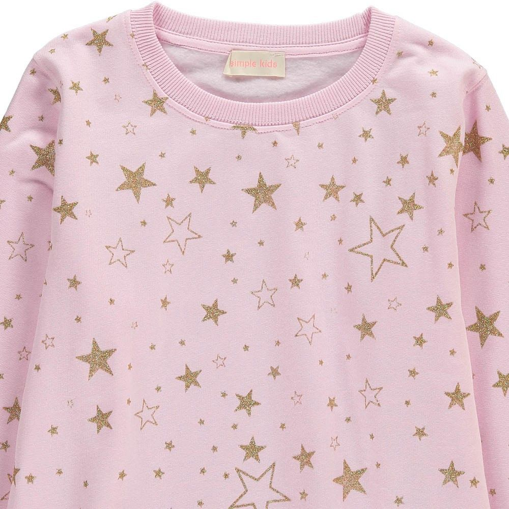 Sweat Etoiles Lurex Discus Rose Simple Kids - Mode Enfant - Smallable