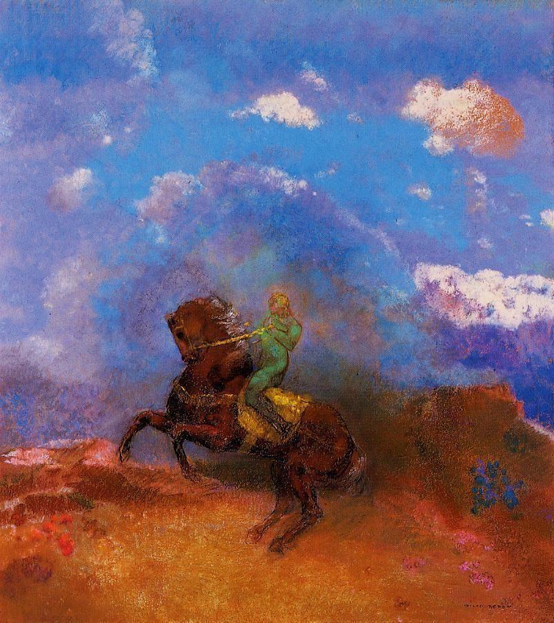 peira:  Odilon Redon:  The Green Horseman (c.1904) via The Athenaeum