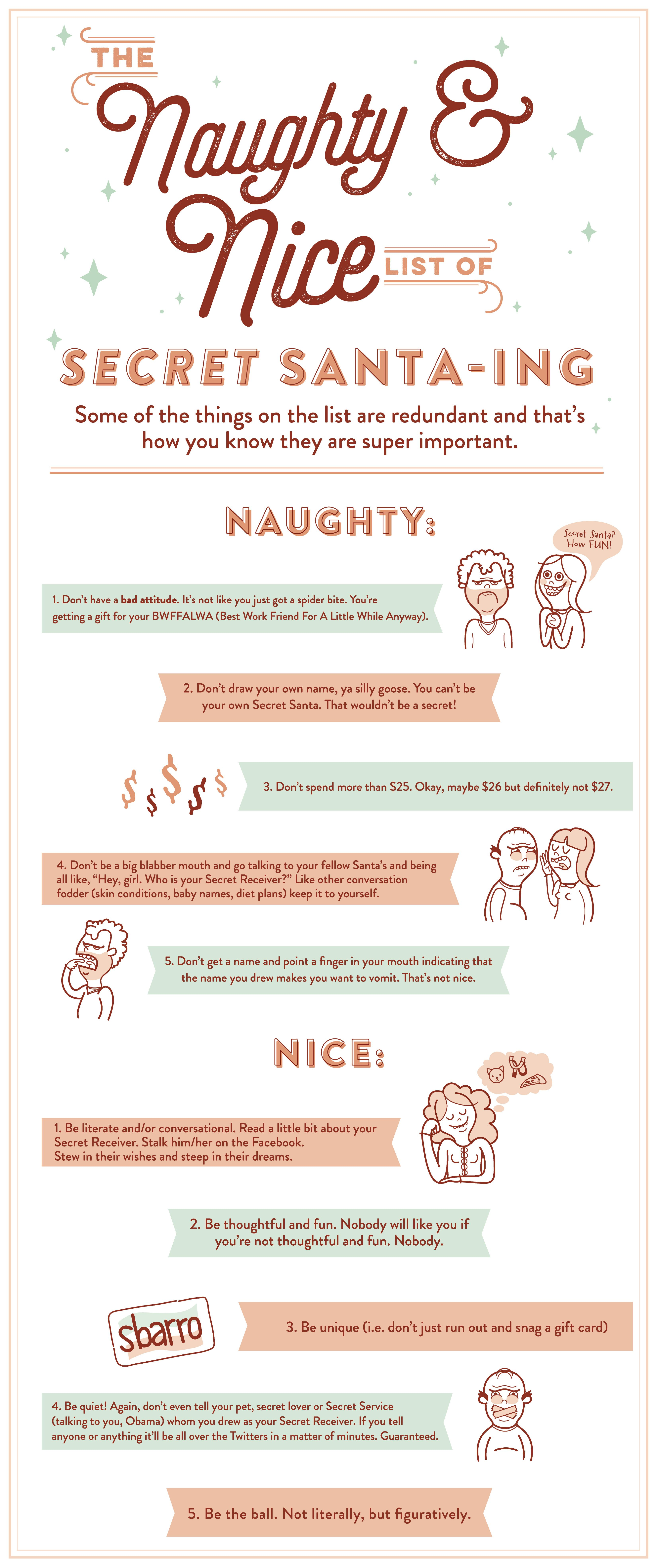 the naughty and nice list of secret santa ing rules by. Black Bedroom Furniture Sets. Home Design Ideas