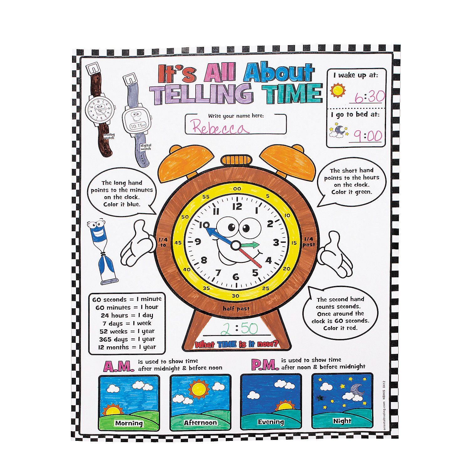 Color Your Own It S All About Telling Time Posters