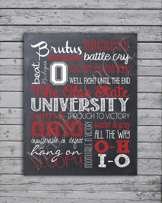 The Ohio State Buckeyes Subway Art Chalkboard -Print