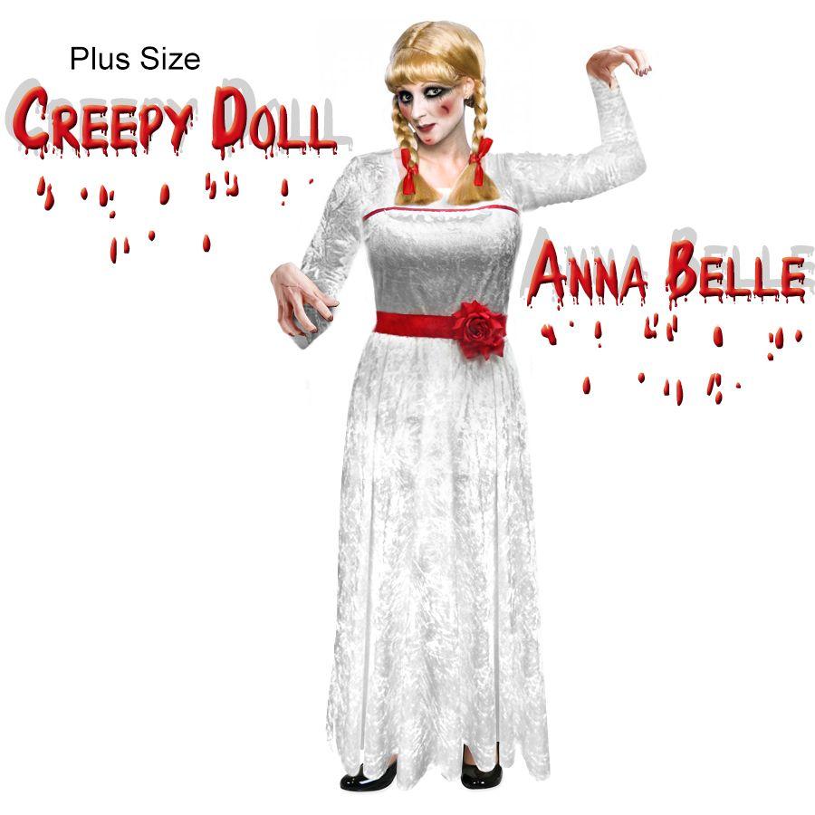 764d01928337 Creepy Doll Anna Belle Plus Size Halloween Costume Sizes S-XL & Plus Size 1x  2x 3x 4x 5x 6x 7x 8x 9x