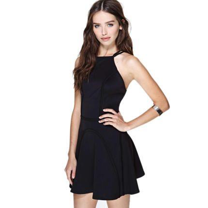 10e7dc7d72ecc Black Open Back Skater Dress with Spaghetti Straps Square Neck Mini ...