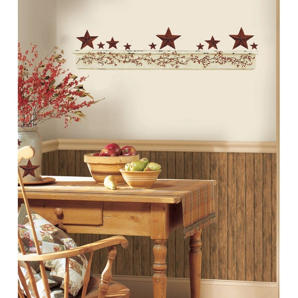 PRIMITIVE ARCH GiaNT WALL DECALS Country Kitchen Stars Berries ...