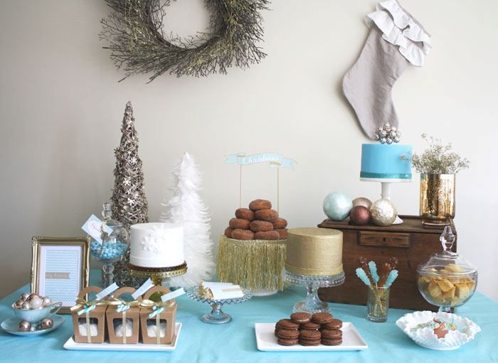 Merry Christmas- Turquoise  Metallic Gold Christmas Party