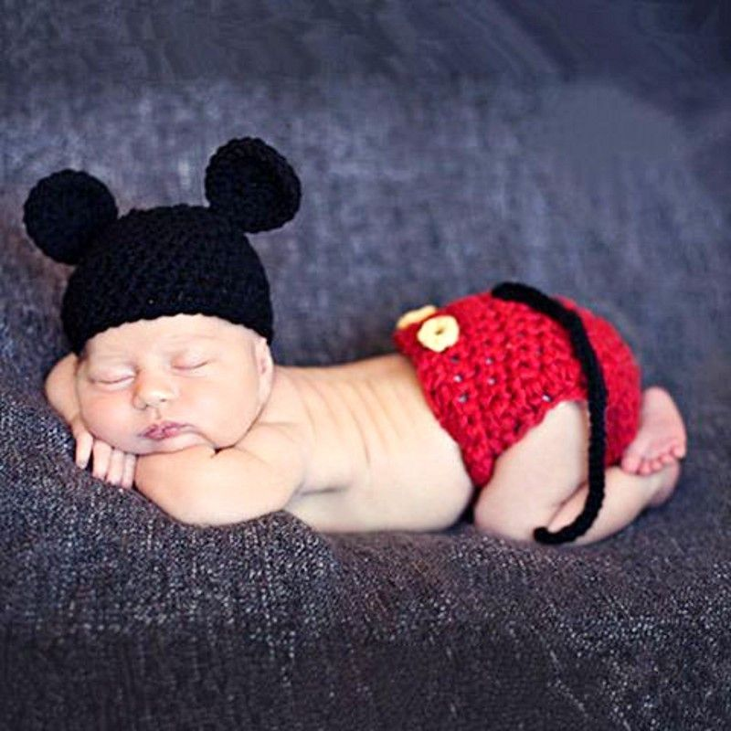 mickey mouse baby photography prop outfit hat cap disney halloween costume cartoon newborn infant - Baby Mickey Mouse Halloween Costume