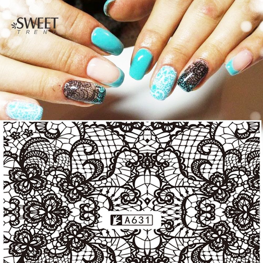 Buy 1 Sheets Lace Flower Pattern Nail Art Stickers Black Lace Full ...