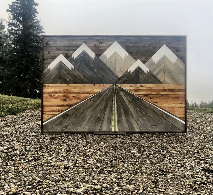 The Original Birch Road is part of Mountain wood art, Mountain wall art, Reclaimed wood wall art, Wood art, Reclaimed wood art, Wooden wall art - Inspired by a Road Trip in the Rocky Mountains of Canada 6 FEET X 4 FEET IMPORTANT SUBJECT TO ADDITIONAL SHIPPING COSTS, STRONGLY ADVISED TO PICK UP LOCALLY   This can be made in 5x3 FEET or 6 x 3 FEET in size  Send us an email to place an order for a custom size   Please note each piece is made to order and purchase