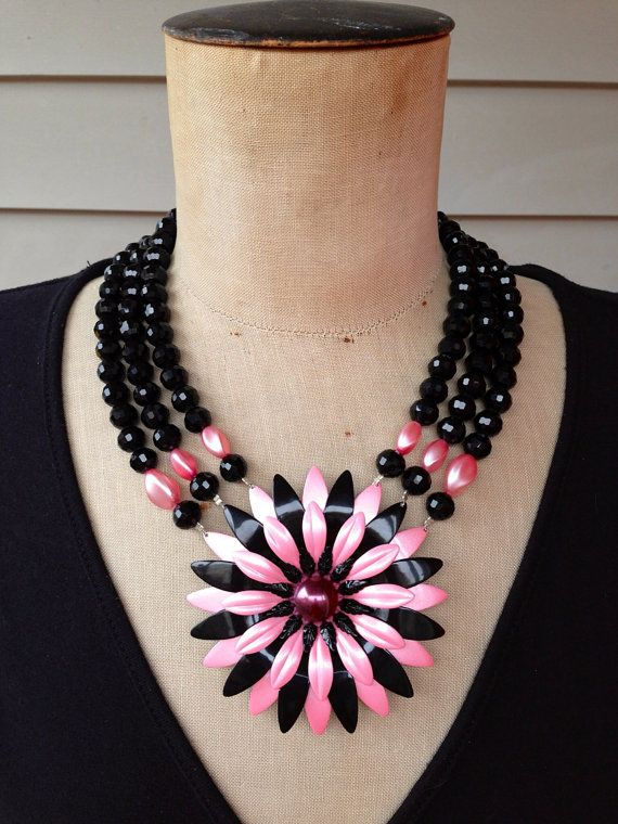 Photo of Vintage Enamel Flower Statement Necklace, Bib Necklace, Black, Pink