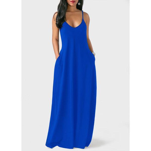 4c948786a3 Rotita Blue Spaghetti Strap Loose-Fitting Maxi Dress ($28) ❤ liked on  Polyvore