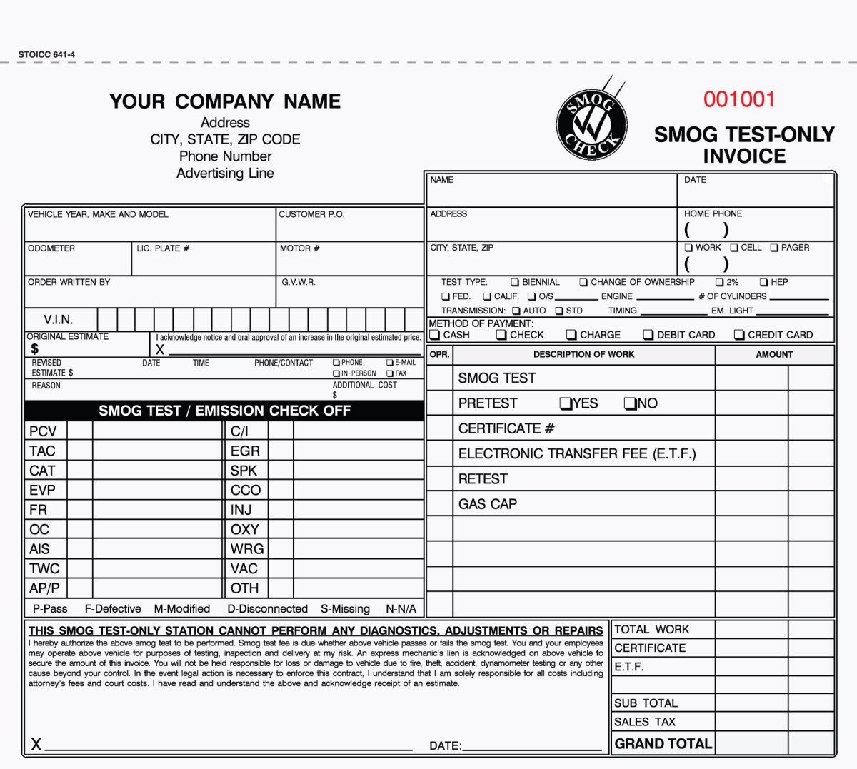 Part Smog Test Only Invoices Carbonless Valid In California