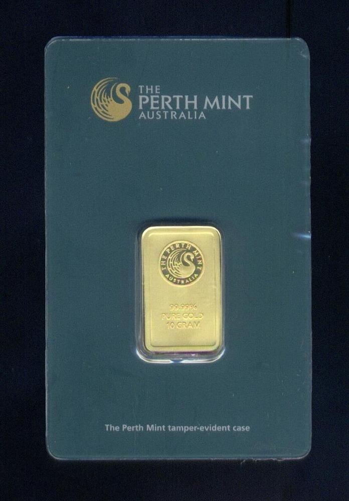 Australia Gem Perth Mint Sealed 10 Gram 9999 Fine Gold Ingot Free Usa Shipping Ingot World Coins Australian Gold