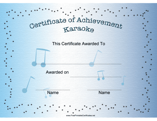Recognize a great karaoke singer with this printable certificate ...