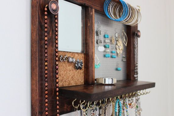 AllinOne Jewelry Rack Wooden Wall Hanging Jewelry Shelf with