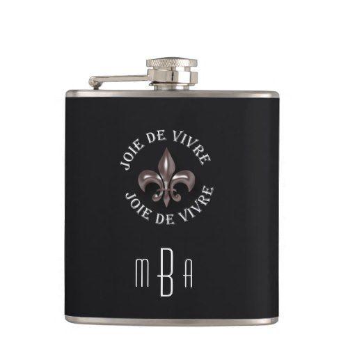 monogram fleur de lis joy of living in french flask flask and weddings