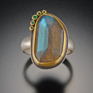 Labradorite Ring with Five Emerald Dots | Ananda Khalsa Jewelry