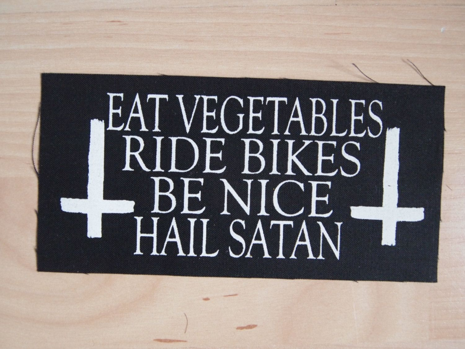satan s counterfeit christianity places to eat vegetables ride bikes be nice hail satan fabric patch