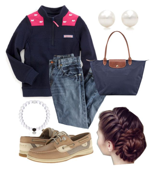 """Casual"" by sjkish on Polyvore featuring Vineyard Vines, J.Crew, Sperry Top-Sider, Tiffany & Co., Longchamp and Everest"