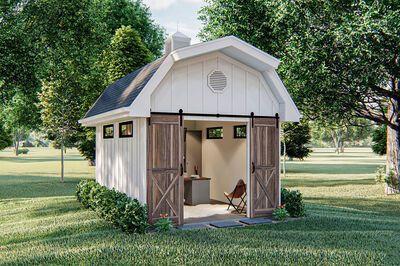 Plan 62897dj Farmhouse Inspired Backyard Office Plan In 2020 Backyard Office Barn Style Shed Backyard Buildings