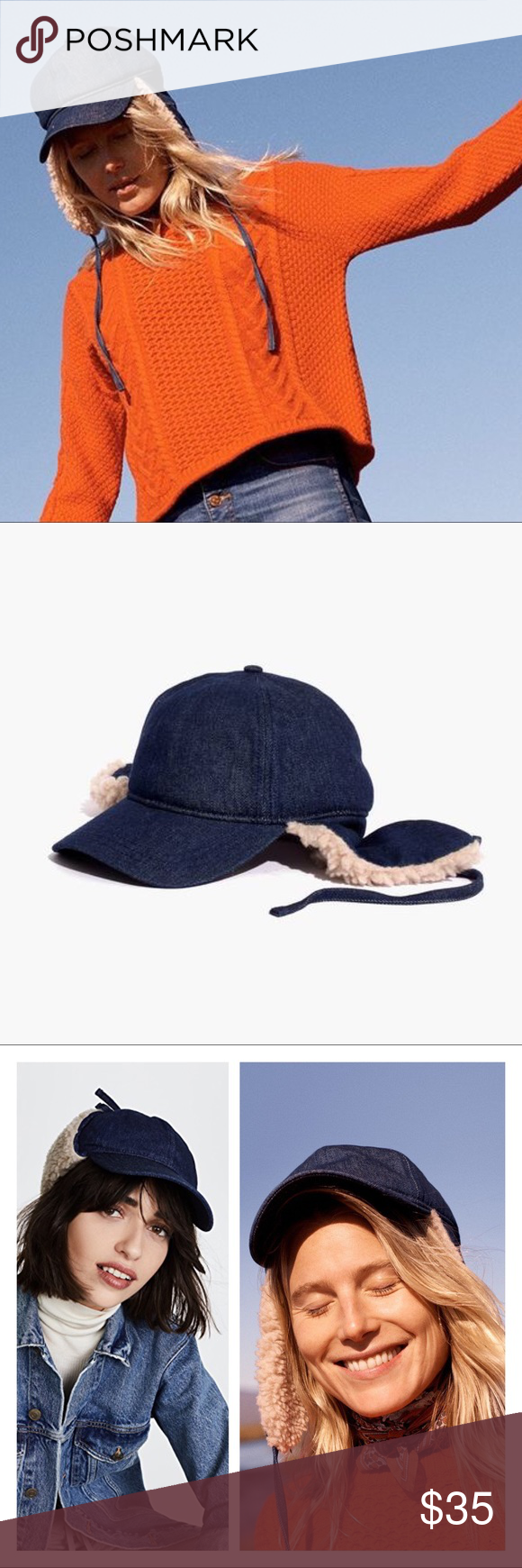 de0cda5b22617 madewell • baseball trapper cap in denim New with tags. Such a statement  piece!