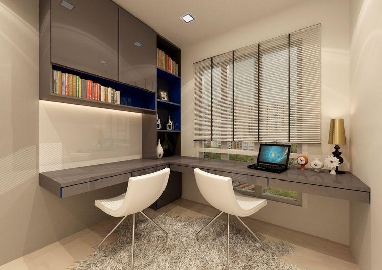 An Der Wand Montierte Schreibtische In L Form Moderne Arbeitsraume Moderner Buro Schreibtisch Arbeitszimmer Einrichten