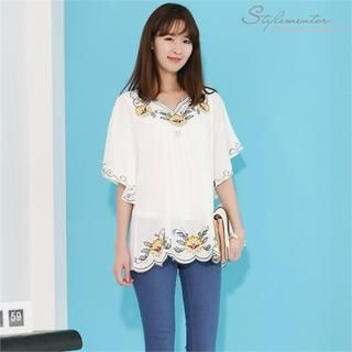 Batwing-Sleeve Embroidered Top from #YesStyle <3 Stylementor YesStyle.com