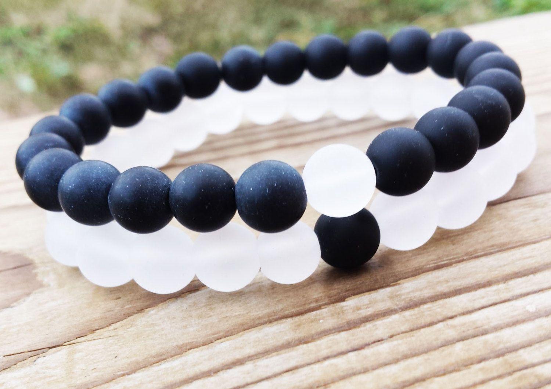 Black And White Yin Yang Bracelet Set