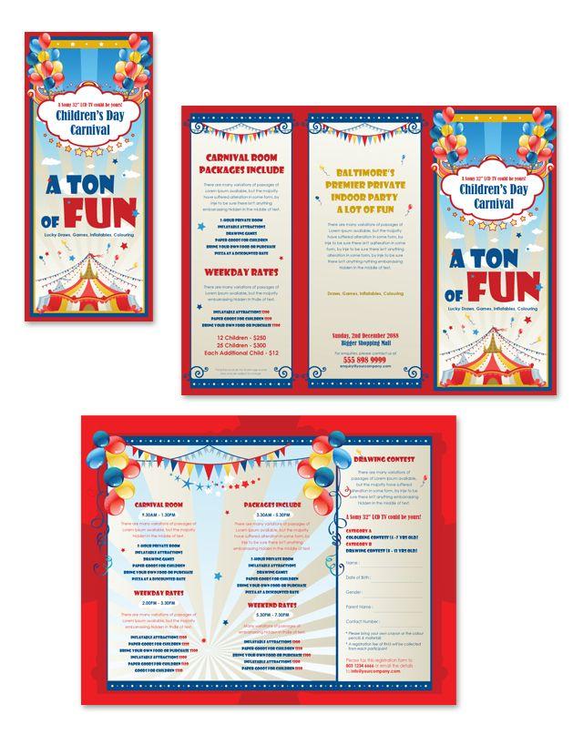 Kids Carnival Day Tri Fold Brochure Template Dlayouts Com