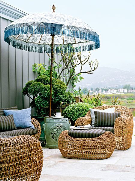 Bohemian Chic Furniture Outdoor Umbrella Shades Woven Patio Myhomeideas