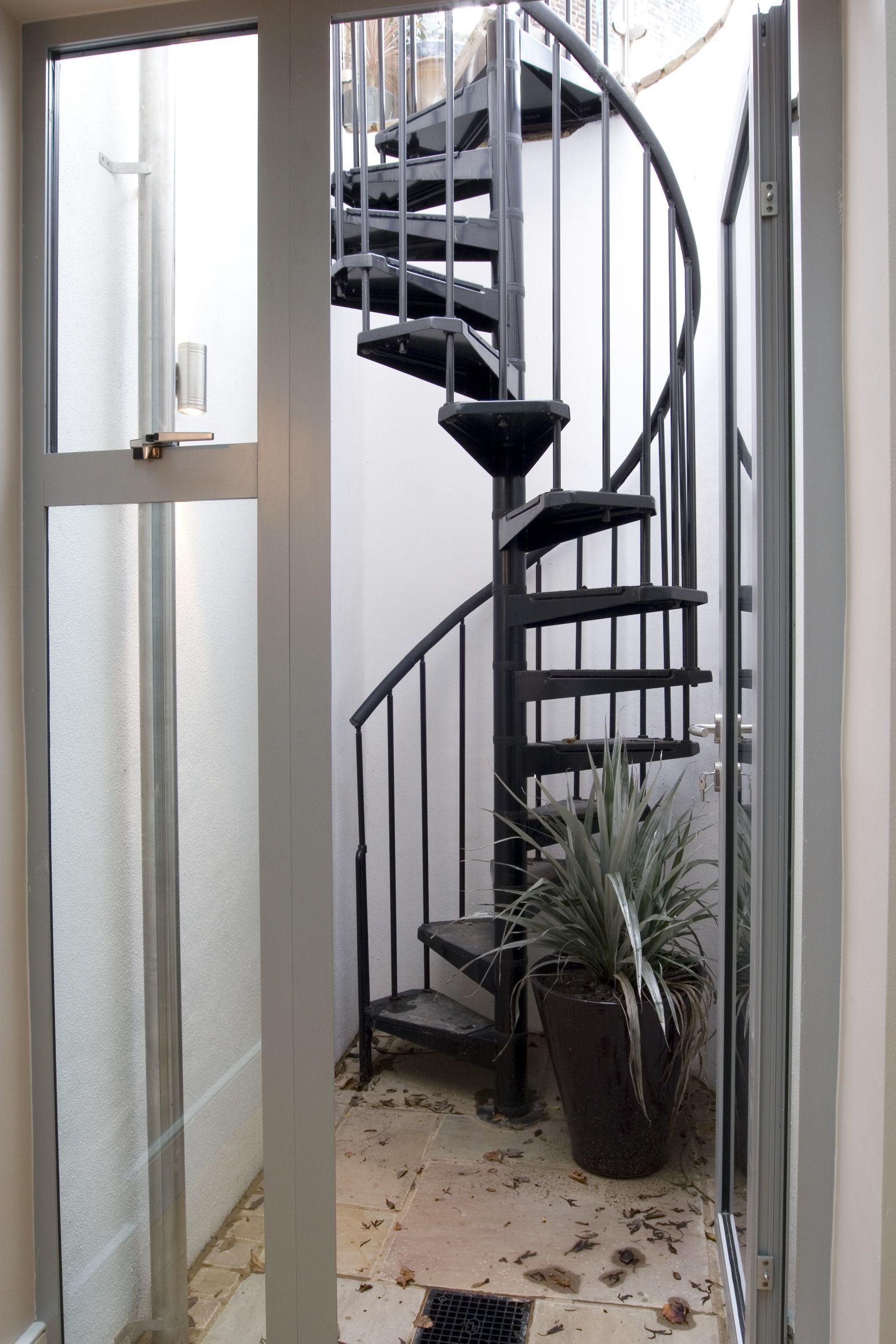 Spiral staircase from the basement to the rear garden