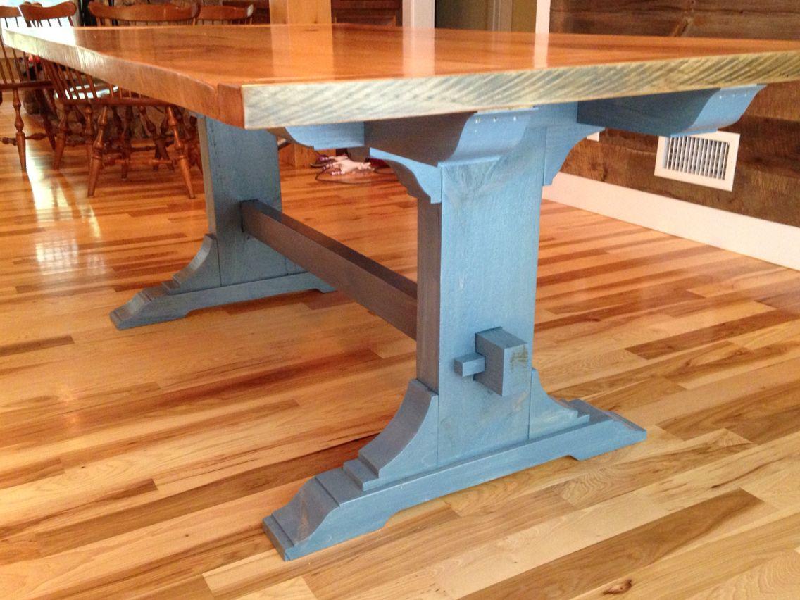Side of custom trestle table, blue stain