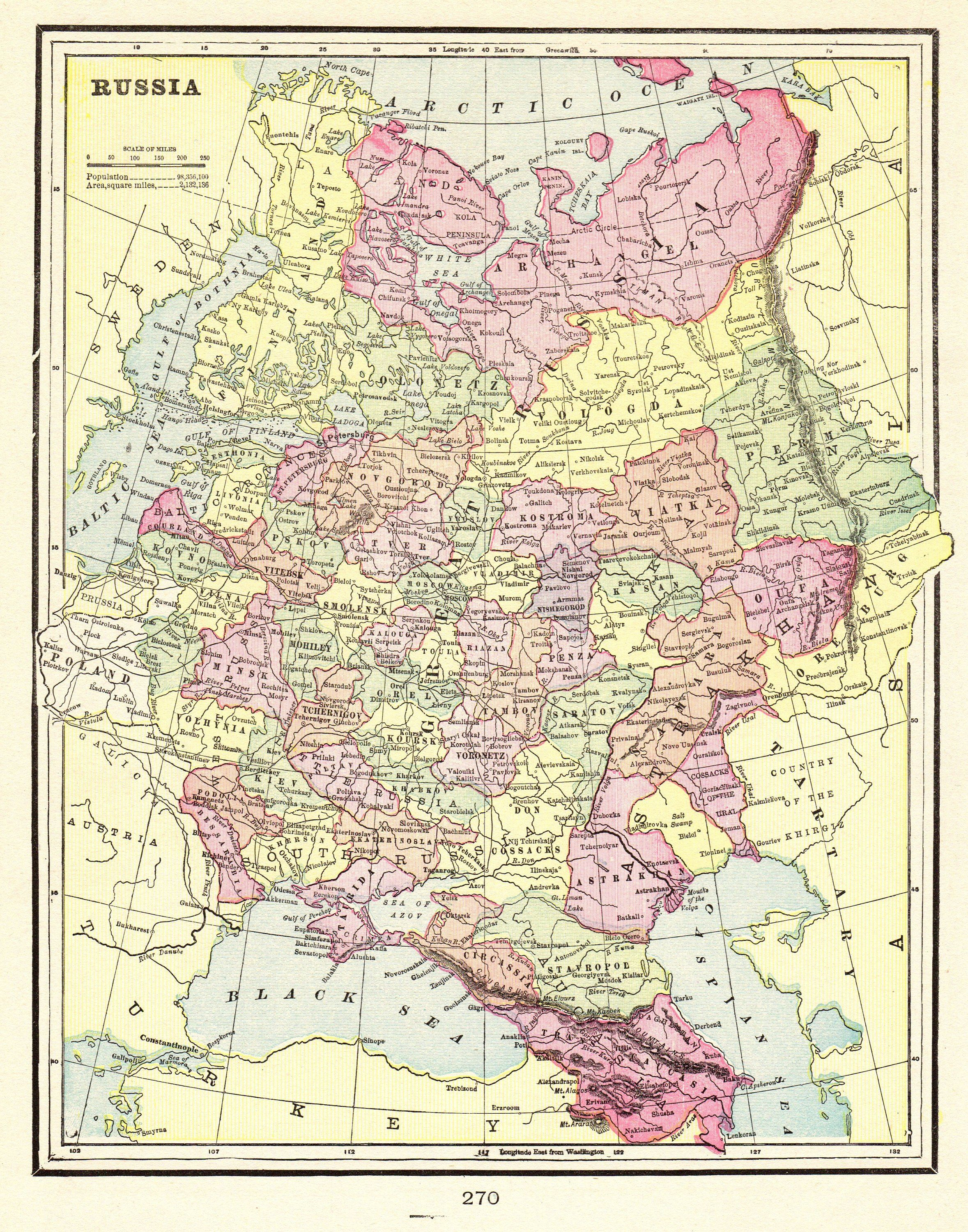1900 Antique Russia Map Vintage Soviet Union Map Of Russia Gallery