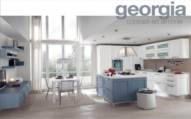Cucina azzurra e bianca colore parete cucine moderne for Colore pareti cucina bianca