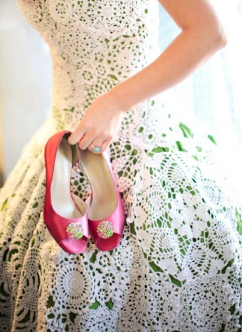 White Lace Doily Day Dress With Green Underlay And Pink Shoes